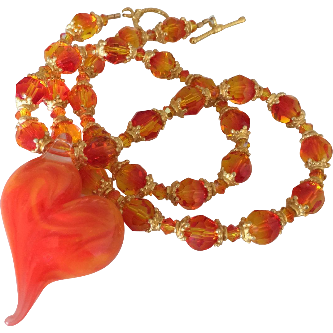 Item ID: LWFN-OrangeHeartSwarovski In Shop Backroom