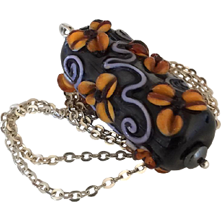 One-Of-A-Kind - Forever Blooming, Italian Moretti Glass Lampwork Floral Artisan Focal - Sterling Silver, 26 Inch, Wearable Art Necklace