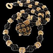 One-Of-A-Kind - Italian Moretti Glass Artisan Lampwork Focal, Black Onyx, Swarovski Crystal, Vermeil - 24 Inch Wearable Art Necklace !