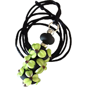 One-Of-A-Kind, Etched Italian Moretti Glass, Forever Blooming Dimensional Florals, Artisan Lampwork Focal Pendant Necklace
