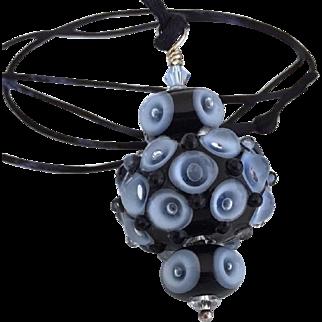 Mesmerizing - One-Of-A-Kind, Italian Moretti Glass, Artisan Lampwork Focal Pendant Necklace - Wearable Art !