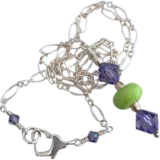Chartreused - Italian Moretti Glass, Swarovski Crystal, Sterling Silver Necklace