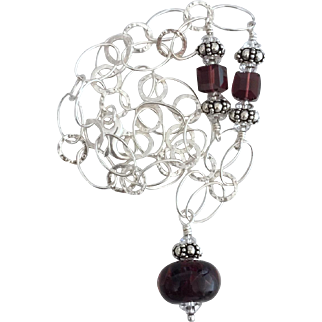 Deep Burgundy - Boro Glass Lampwork Focal, Swarovski Crystal, Sterling Silver - Wearable Art Necklace