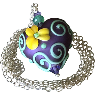 Mesmerizing, One-Of-A-Kind, Etched Italian Moretti Glass, Forever Blooming Dimensional Florals and Scrolling, Artisan Lampwork Focal Necklace