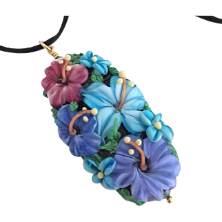 One-Of-A-Kind, Italian Moretti Glass, Forever Blooming Floral, Artisan Lampwork Focal Pendant Necklace - Wearable Art !