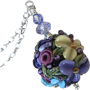 Forever Blooming - Italian Moretti Glass, Artisan Lampwork Floral Focal Necklace - One-Of-A-Kind
