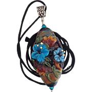 Exquisite - One-Of-A-Kind - Italian Moretti Glass, Forever Blooming Florals - Artisan Lampwork Focal Pendant Necklace - Wearable Art !