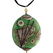 One-Of-A-Kind, Italian Moretti Glass, Artisan Lampwork Focal Pendant Necklace - Wearable Art !
