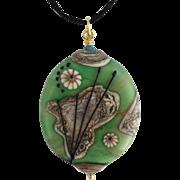 One-Of-A-Kind, Italian Moretti Glass, Artisan Lampwork Focal Pendant Necklace - Wearable Art !