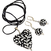 Italian Moretti Glass, Artisan Lampwork Heart Focal Pendant Necklace and Earrings - Wearable Art !
