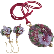 One-Of-A-Kind, Italian Moretti Glass, Forever Blooming Florals, Artisan Lampwork Focal Pendant Necklace and Earrings - Wearable Art !