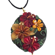Italian Moretti Glass. Artisan Lampwork, Forever Blooming Florals - Focal Pendant Necklace and Earrings - Wearable Art !