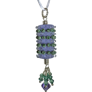 One-Of-A-Kind, Italian Moretti Glass, Swarovski Crystal, Sterling Silver, Focal Pendant Necklace - Wearable Art !