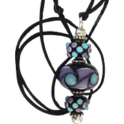 Mesmerizing Dots - Italian Moretti Glass - Artisan Lampwork Focal Pendant Necklace