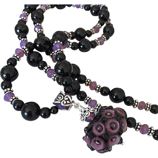 One-Of-A-Kind - Italian Moretti Glass Lampwork Focal, Black Onyx, Swarovski Crystal, Sterling Silver - 30 Inch Wearable Art Necklace !