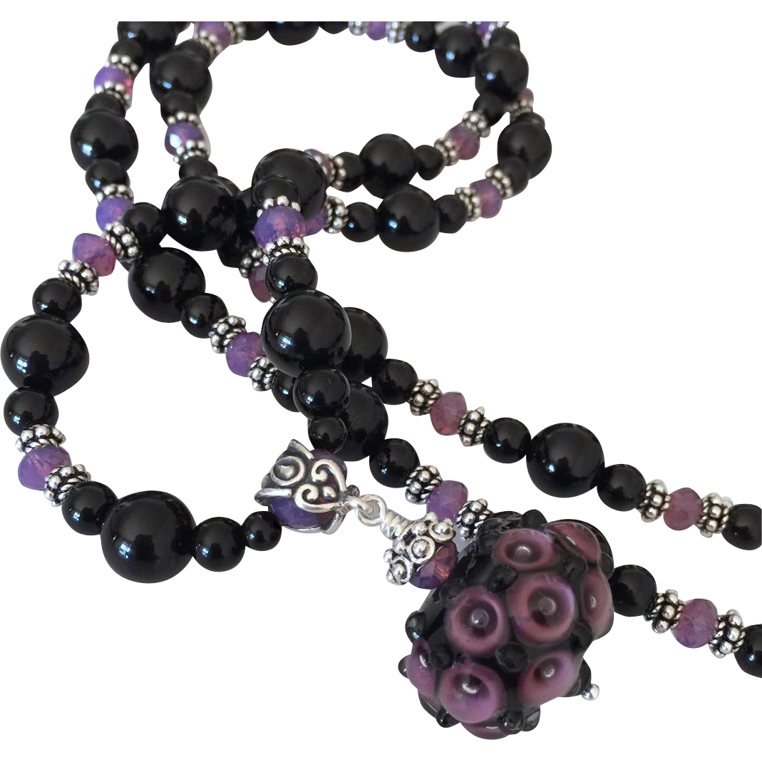 One-Of-A-Kind - Italian Moretti Glass Lampwork Focal, Black Onyx, Swarovski Crystal, Sterling Silver - 30 Inch Wearable Art Necklace !