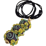 One-Of-A-Kind, Etched Italian Moretti Glass, Forever Blooming Dimensional Florals and Scrolling, Artisan Lampwork Focal Pendant Necklace
