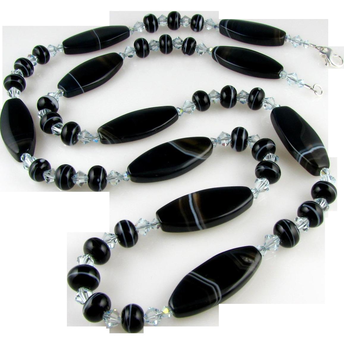 Multi Versatile - Banded Black, Italian Moretti Glass Lampwork, Gemstone Agate, 32 Inch Wearable Art Necklace