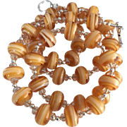 Caramel and Honey - Italian Moretti Glass - Artisan Lampwork Necklace - Wearable Art !