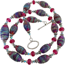 Decadent Bliss - Double Helix Boutique Designer Glass, Artisan Lampwork, Swarovski Crystal - Color Shifting Wearable Art Statement Necklace