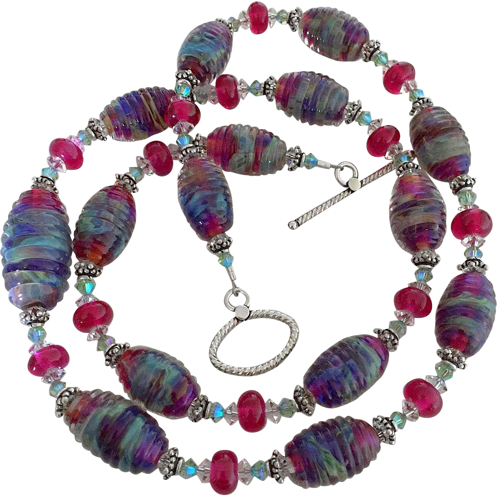 Decadent Bliss - Double Helix Boutique Designer Glass, Artisan Lampwork, Swarovski Crystal - Color Shifting Wearable Art Necklace