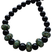 Color Shifting - Green Boro Lampwork Beaded, Black Onyx - Artisan Wearable Art Necklace