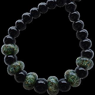 Bold ! Color Shifting - Green Boro Lampwork Beaded, Black Onyx - Artisan Wearable Art Necklace