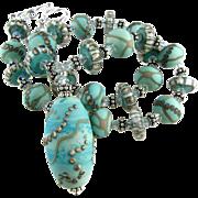 Patina Green Blue, Italian Moretti Glass Lampwork, Bali Sterling Silver, Swarovski Crystal - Artisan Wearable Art Necklace !