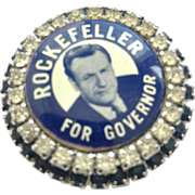 Warner signed Political Brooch for Rockefeller