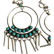 Native American Sterling and  Turquoise Screw-back Earrings