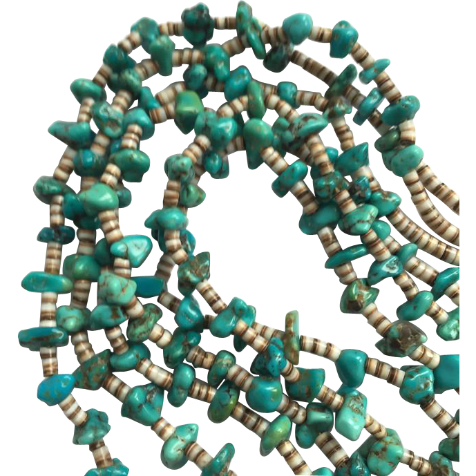 Old Native American 3 strand Turquoise Nuggets with Heishe Necklace