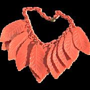 Vintage Celluloid Leaf Necklace