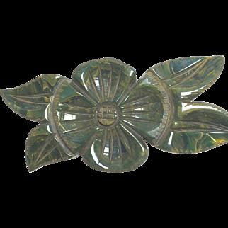End of Day Green Flowered Bakelite Brooch