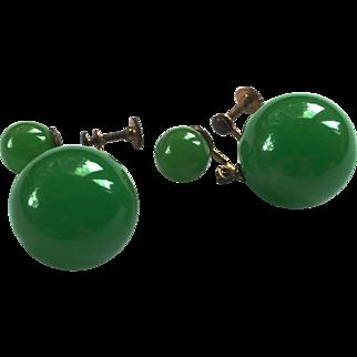 Apple Green Bakelite Drop Earrings