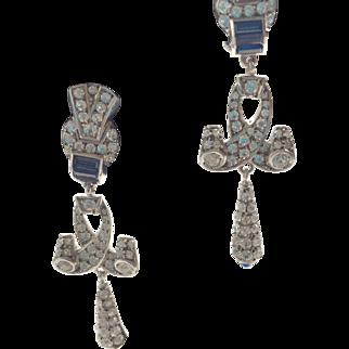 German Paste Deco Style Pforzheim Paste Earrings