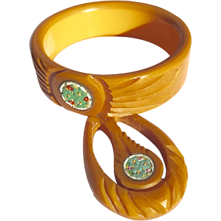 Butterscotch Carved Mosaic Pendant and Bangle