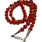 Southwestern Native American Oxblood Coral Necklace