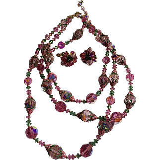 Vendome Pink Multi Stand Necklace and Earring Set