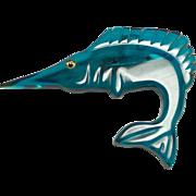 Rare Prystal Teal Bakelite Fish Brooch