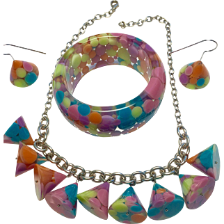 Sobral 3 Piece Resin Necklace, bracelet, and Earring Set