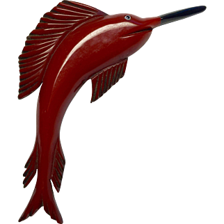 Gorgeous 5 inch Bakelite Sailfish Carved on Wood Backing