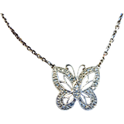 Sweet 14k white gold and diamond butterfly necklace