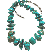 Gorgeous Native American Chunk Turquoise  on Bench Bead Necklace