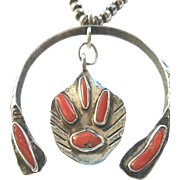 Fabulous Sterling  Native American Necklace with Coral Naja