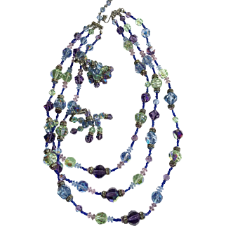 Vendome 3 Strand Necklace Blue Lilac Green With Hanging Earrings