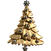 Signed Gold and Silver Colored Christmas Tree Pin