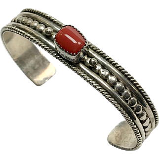 Native American Sterling Coral Bracelet
