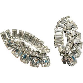 Rhinestone Clip Earrings silver tone metal