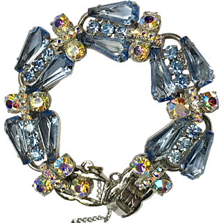 Juliana Blue and AB Rhinestone, Silvertone Bracelet