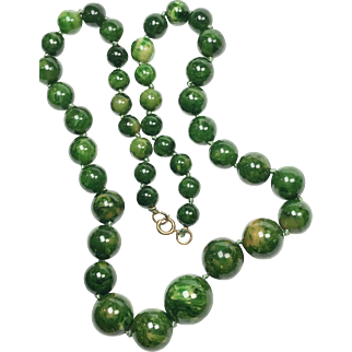 Marbled Green Bakelite Necklace